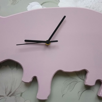 Cute pink pig shaped wooden wall clock with black hands