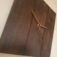 Rustic recycled square wooden wall clock with burnt finish and gold hands