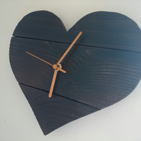 Rustic recycled heart shaped wooden wall clock with burnt finish & gold hands