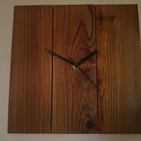 Rustic recycled square wooden wall clock with dark stain finish & black hands