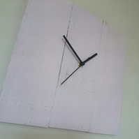 Rustic recycled square wooden clock with pink painted finish and black hands