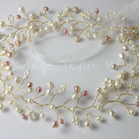Freshwater Pearl Bridal Hair Wreath