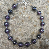 Deep purple & black glass bead bracelet