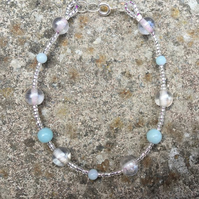 Amazonite and glass bead bracelet