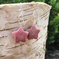 Red rhodonite star drop beaded earrings