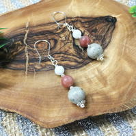 Rhodonite, Feldspar & Shell gemstone beaded drop earrings