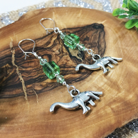 Silver Boho Cute Dinosaur Green Glass Charm Earrings