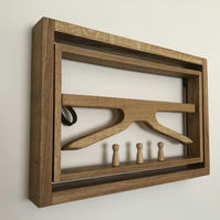 Solid oak wall mounted Valet