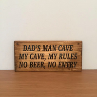 Interior dad's man cave wooden sign . Dad gift . Daddy gift . Fathers Day