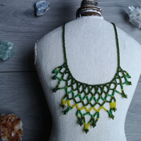 Netted Necklace, Bead Work, Green Yellow Beaded Necklace