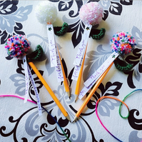 PomPom Flower Pencil, Thank You Gift