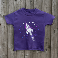 RETRO ROCKET Glow in the dark kids tees in 7 colours Age 1-6 yrs