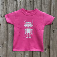 RETRO ROBOT Glow in the dark kids t shirts in 7 colours Age 1-6 yrs