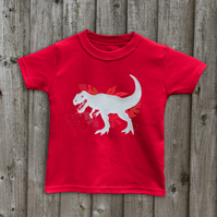 T REX Glow in the dark t shirts in 7 colours for kids Age 1 - 6 yrs