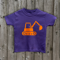 DIGGER  Kids t shirt 7 colours Age 1 to 6 yrs