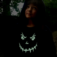 HALLOWEEN SCARY FACE  Glow in the Dark  T shirt