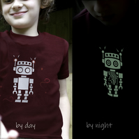 RETRO ROBOT Glow in the dark T shirt