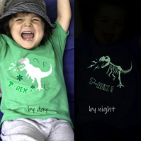 T REX ROARS Glow in the dark T shirt