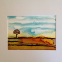 The Field in Autumn Original Ink Painting