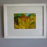 Tuscan Hill Town Painting (Framed)