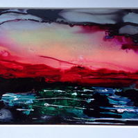 Sunset Over the Baltic Original Ink Painting
