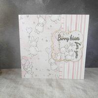 Bunny Kisses Card, Cute Bunny Card, Pink Card