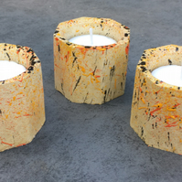 Octagonal Concrete Candle -Tea Light -Set of 3 - Wedding gift - table - tealight