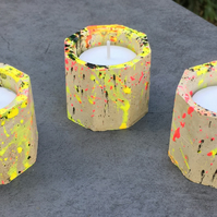 Octagonal Concrete Candle - Tea Light - Set of three - Wedding gift - table set