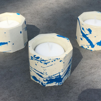 Breaking Bad Crystal Blue -Octagonal Concrete Candle - Tea Light - Set of three