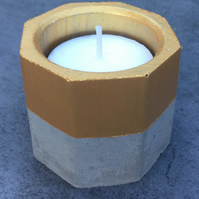 Octagonal Concrete Candle - Tea Light Candle - Wedding Candle Holder