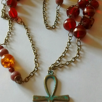 Extra long beaded Ankh charm pendant necklace amber