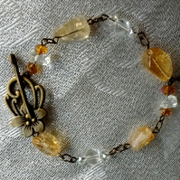 Citrine nugget gemstone beaded bracelet