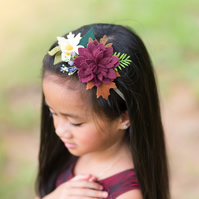 FREE SHIPPING - Autumn Fall Felt Flower Headband, Whimsical Flower Crown, Bridal