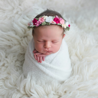 Delicate Pink Roses newborn Headband, Dainty Floral Crown, Christening headband