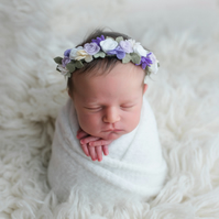 Delicate Purple and lilac Roses newborn Headband, Floral Crown, Christening