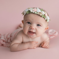 Delicate Pink and White Roses newborn Headband, Dainty Floral Headband