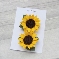 Sunflower Hair Clip Set, Pigtail Clips, Flower Hair Pins,