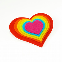 Rainbow Heart Felt Brooch