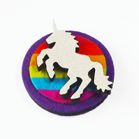 Rainbow Unicorn Felt and Glitter Brooch