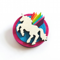 Unicorn Brooch with Rainbow Wings