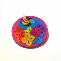 Rainbow Floral Brooch with Bee Button