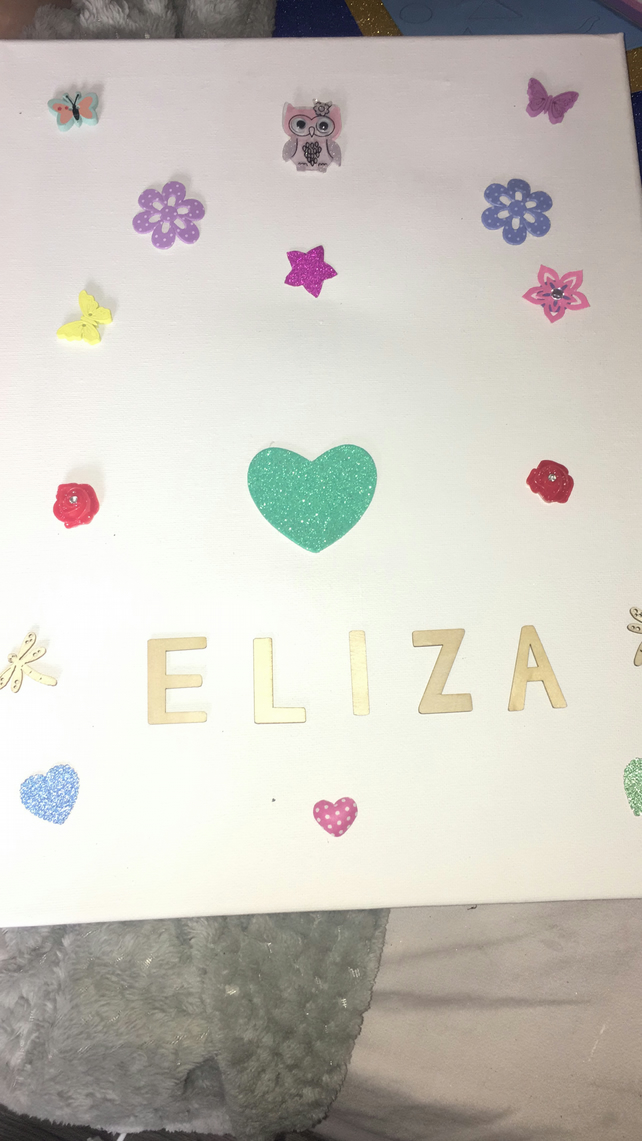 personalised baby girl canvas