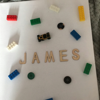 personalised boys lego canvas