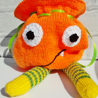 Halloween Goody Bag, knitted monster, Trick or Treat