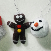 Set of 4 hand knitted Christmas Tree Decorations