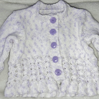 Baby's cardigan, speckled lilac, lace effect cardigan