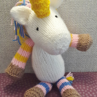 Unicorn knitted soft toy