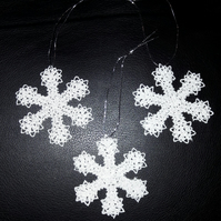 Embroidered Snowflake Christmas Tree Decorations, set of 3