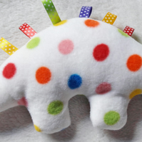 Spotty Dinosaur Fleece Ribbon Soft Toy