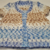 Baby's short sleeved multi stripe cardigan
